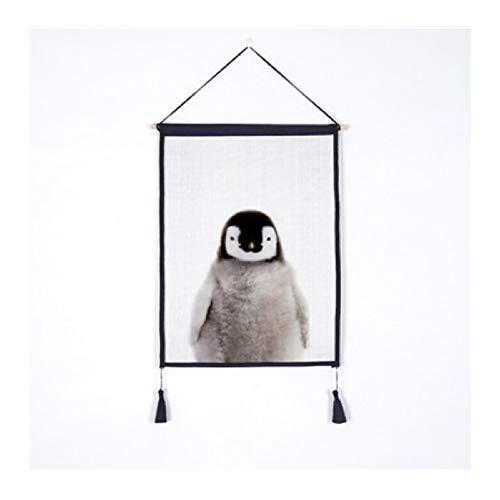 Wsxwga HD Cartoon Nette Reizende Tierbabyserie Hängen Wandkunst Poster Moderne Massivholz Baumwolle String Hängen Welle Scroll Malerei L 45 * 65 cm