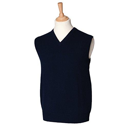 Maglione smanicato con scollo a v in lana d'agnello blu navy