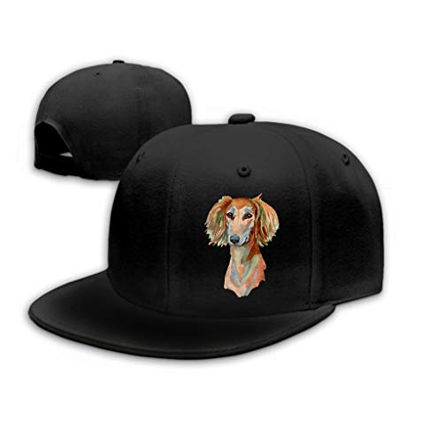 zexuandiy Classic Cotton Hat Adjustable Plain Cap, Baseball Cap Adjustable Size Curved Visor Hat Saluki Dog Hand Painted Isolated White Background wa Black Saluki Hat
