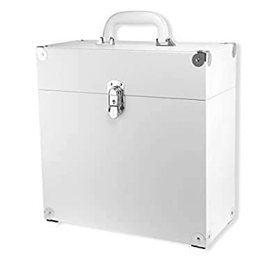 "JACK & CABLE Vinyl Record Case for 12"" LPs Albums - White with Silver Hardware (JC0502)"