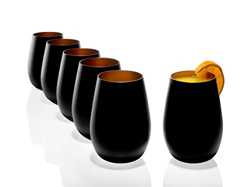Stölzle Lausitz Becher 465 ml, 6er Set, Wassergläser in schwarz (matt) und Bronze, spülmaschinenfest, bleifreies Kristallglas, hochwertige Qualität