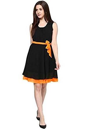 Woman style Designer Womens Fancy western wear and party designer wear Satin orange Colour Georgette Regular Fit Frock/One piece (CC9062_FreeSize_orange)