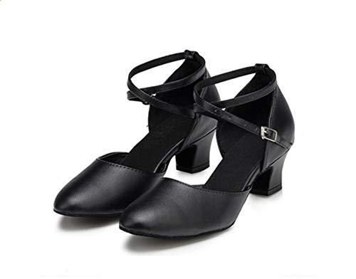 Hccy scarpe da ballo per donna latina in pelle nera con tacco alto, alte 5 cm, 40 cm