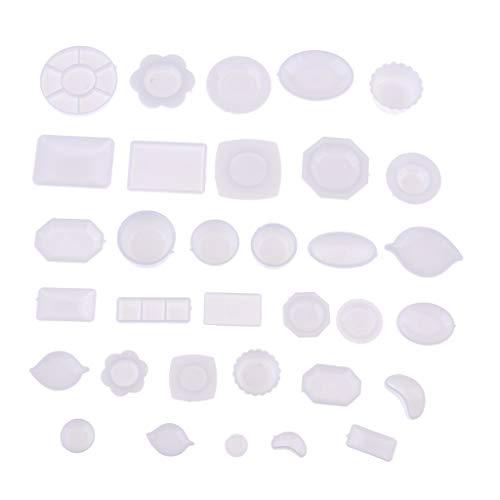 B Blesiya 33-TLG Mini Geschirr Teller Teller Tablett Schüssel Set für 1/12 Skala Puppenhaus Küche Dekor Zubehör (B Sie Schüssel-set)