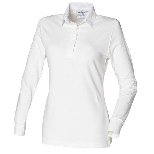 Front Row - Polo de Rugby 100% Coton - Femme Blanc - White/white