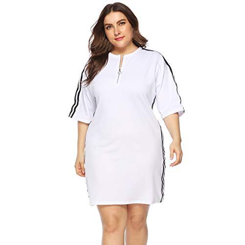 MAYOGO Damen Lang Große Größen Sportlich Blusen Weiß Streifen Kurzarm Laufen Sweatshirt Oberteile Tops Kurz Sweatkleid mit ()