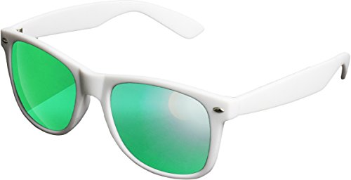 MSTRDS Likoma Mirror Unisex Sonnenbrille Für Damen und Herren mit verspiegelten Gläsern, white/green