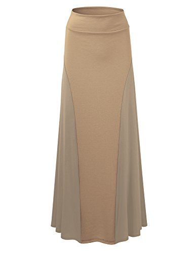 WB1371 Womens Maxi Skirt with Side Panel - Made in USA M Taupe (Side Panel Lock)