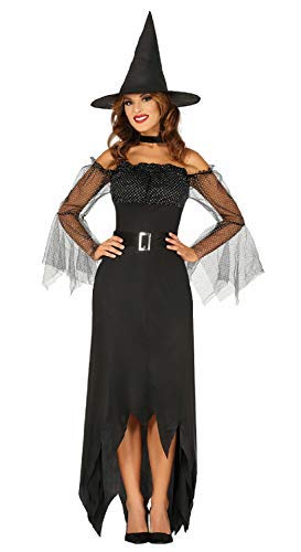 raditional Classic Black Sexy Witch TV Book Film Book Day Halloween Carnival Fancy Dress Costume Outfit With Hat UK 10-16 (UK 14-16) ()