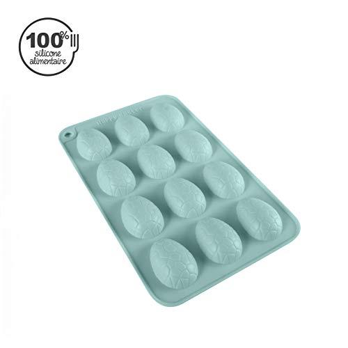 CÉCOA - Stampo in silicone per cioccolatini a forma di uova di Pasqua, 12 formine con incrinature