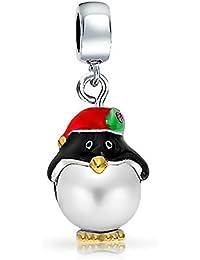 Bling Bijoux Argent 925avec perle artificielle de Noël Charm Pingouin Compatible avec bracelets de type Pandora