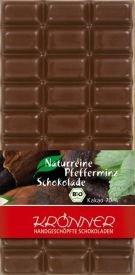 Krönner Bio Pfefferminz Zartbitter Schokolade handgeschöpft ohne Lecithin und Aromen, 100 g Tafel, Kakao 70%