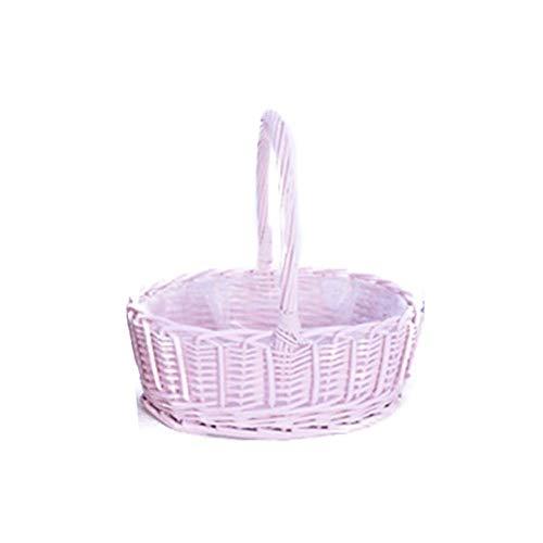 Fllyingu - cesto di fiori in tessuto a mano, cestini regalo, cestino da picnic, cestino portaoggetti in vimini con manici per giocattoli, decorazione della casa rosa