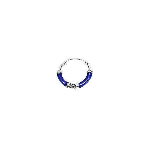NKlaus PAAR 925 STERLING SILBER Keltische Bali Creolen Blaue Mäander 16mm 7081