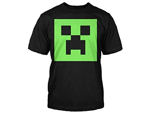 Minecraft Creeper Glow in the Dark Youth T-Shirt, Black(Large) (Glow Youth-t-shirt)
