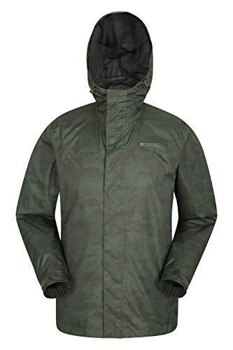 Mountain warehouse torrent, giacca da uomo stampata - impermeabile, con cuciture nastrate, leggera, con tasche laterali - per trekking, viaggi estivi camouflage large