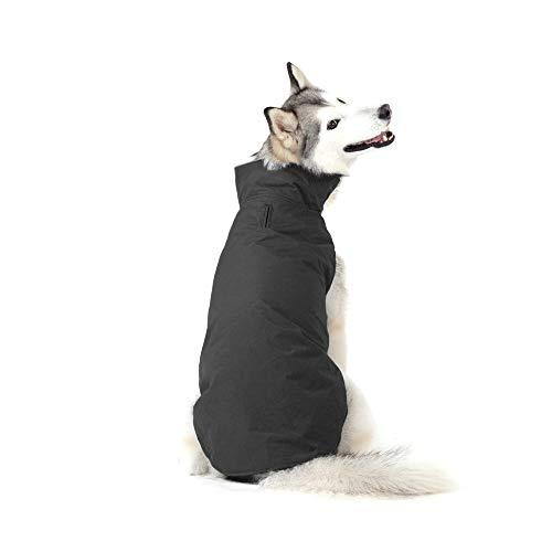Bwiv Hundemantel Winter Grosse Hunde Wasserdicht mit Leine Loch Atmungsaktiv Bauch Schützen Welpe Haustier Weste Kleider Jacke Vlies Klettverschluss Leicht für Mittlere und Große Hunde (6XL, Schwarz)