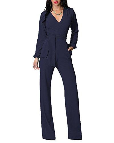 Tuta donna elegante tute lungo v scollo manica lunga jumpsuit tutine monopezzo zaffiro blu xl