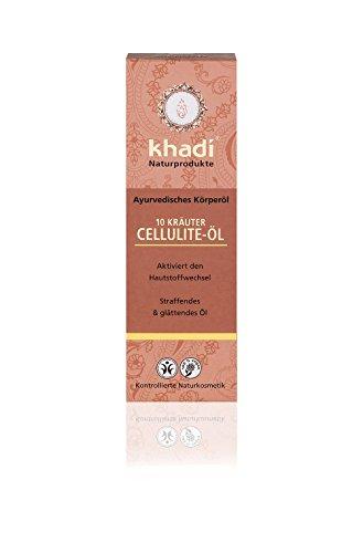 Khadi 10 Kräuter Cellulite Körperöl 100ml I natürliche Körper-Pflege zur Reduzierung von Cellulite I ayurvedisches Öl für straffe Haut I Anti-Cellulite-Öl & Massageöl aus pflanzlichen Ölen und Kräutern