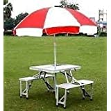 MK New Heavy Duty Aluminium Portable Folding Picnic Table & Chairs Set With Umbrella