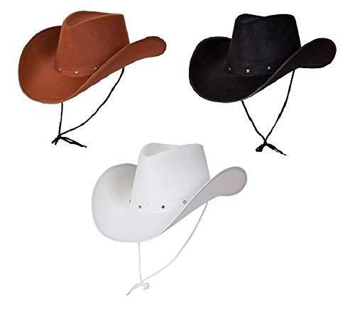 Wicked Kostüme Erwachsene Texanischer Cowboyhut weiß, braun & schwarz, 3er Pack Fasching Party Zubehör Country Western Rancher (Western Und Country Party Kostüm)