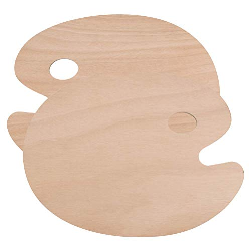 Lawei 4 Pcs Wooden Paint Palette Oval Shaped with Thumb Hole for Oil Paint, 30 x 40 cm