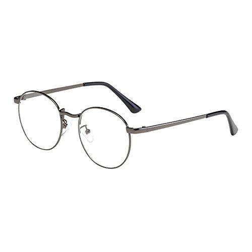 Deylaying Unisex Klassisch Metall Runden Rahmen Brille Kurzsichtig Kurzsichtigkeit Brillen Harz Löschen Linsen (Stärke -2.0, GunGray) (Diese sind nicht Lesen Brille)