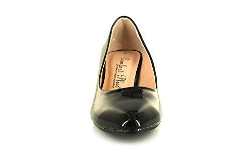 27c5f295e413 Comfort Plus New Womens Ladies Black Patent Wide Fit Kitten Heel Court Shoes  - Black - UK Sizes 3-8