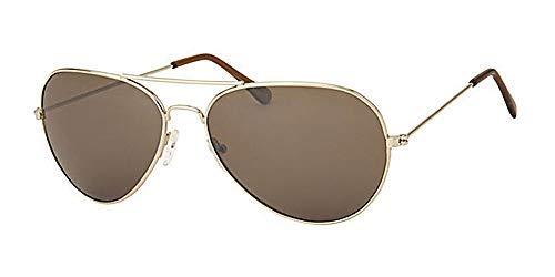 Eyewear World Sonnenbrille mit goldfarbenem Metallrahmen und braunen Gläsern mit gratis gelber Kordel