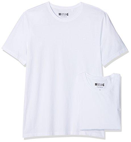 MUSTANG Herren 2-Pack C-Neck T-Shirt, Weiß (General White 2045), Large (2erPack) -