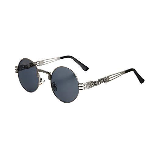 Aroncent Herren Outdoor-Sonnenbrille, polarisiert, UV-Schutz, rund, Farbe wählbar silber/