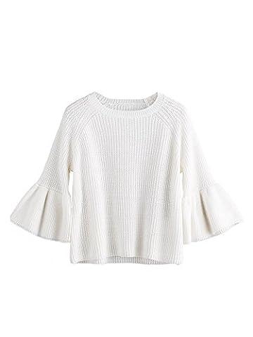 ROMWE Pull femme manches longues évasées Sweater