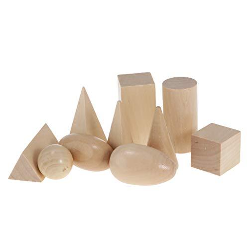 Sharplace 11er-Set Holz Sensorial Geometrie Blöcke Spielzeug, Kinder Pädagogisches Spielzeug für Familienspiel Kindergarten (Holz-block-spielzeug-set)
