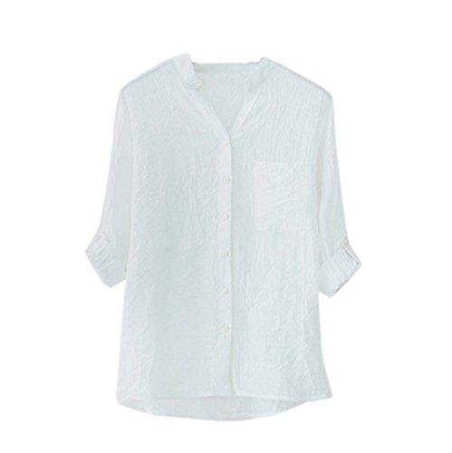 KIMODO Women Cotton Solid Long Sleeve Shirt Casual Loose Blouse Button Down Tops