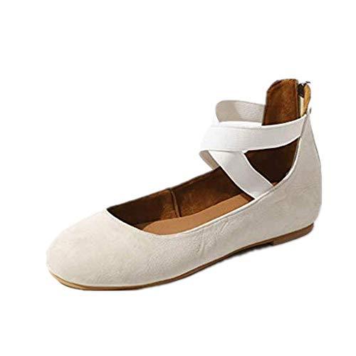 Dasongff Einzelne Schuhe Frauen Mary Jane Schuhe Flache Cross Strap Elegante Yoga Brautschuhe Rutschfeste Ballett Tanzschuhe 3 Strap Mary Jane
