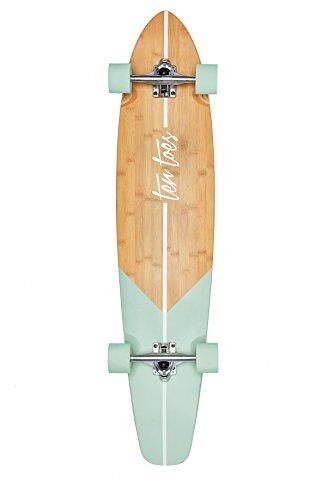 Ten Toes Board Emporium Ten Toes Zed Bamboo Skateboard Cruiser Longboard, Aqua Fishtail, 44 Zoll