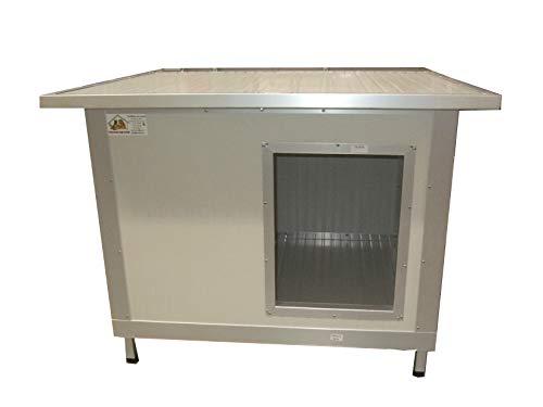 VERBOX Cuccia Coibentata per Cani da Esterno in Alluminio (100x70x70H, Profilo Grigio Satinato)