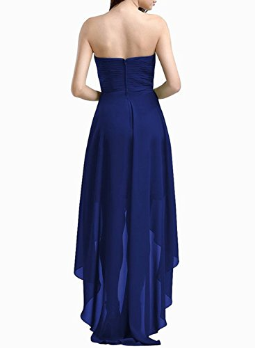 Azbro Women's Strapless High Low Solid Chiffon Evening Dress Deep Blue