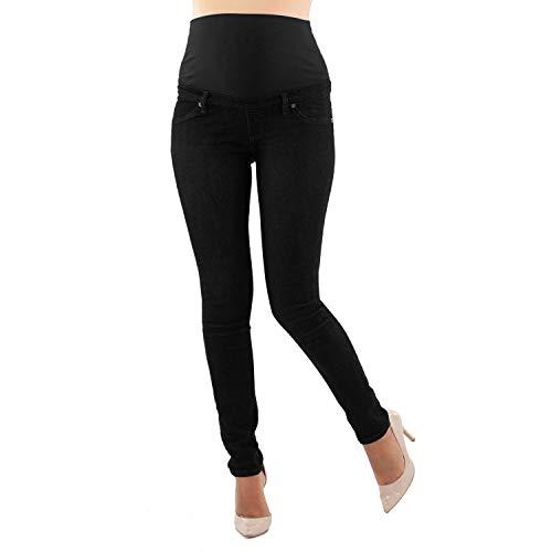 Mamajeans jeans premaman basico, super elastico e comodo, vestibilità skinny, lavaggio basic, colori denim e nero (s, nero)