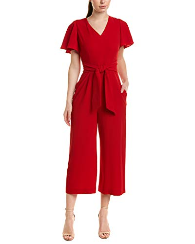 4af0edcd4 Tahari by Arthur S. Levine Women's Short Sleeve Crepe Jumpsuit with Self  Tie at Waist