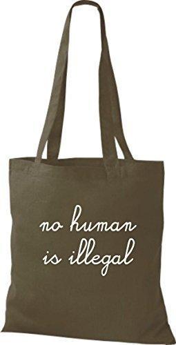 ShirtInStyle Stoff-beutel Baumwolltasche no human is illegal, kein Mensch ist illegal, Farbe Royal olive