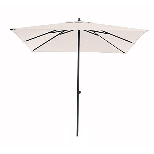 OUTLIV. Sonnenschirm Stockschirm Push-Up 250x250cm quadratisch Alu-/Stahl-Gestell Anthrazit Bezug Polyester Beige Gartenschirm Terrassenschirm Balkonschirm Push-Up-Schirm