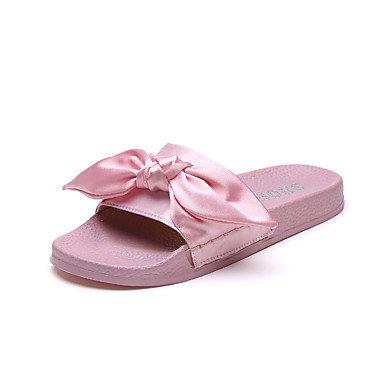 zhENfu donna pantofole & amp; flip-flops sandali Comfort estivo di seta Casual Walking Slouch stivali fiore satinata HeelWhite piana verde nero arrossendo Blushing Pink