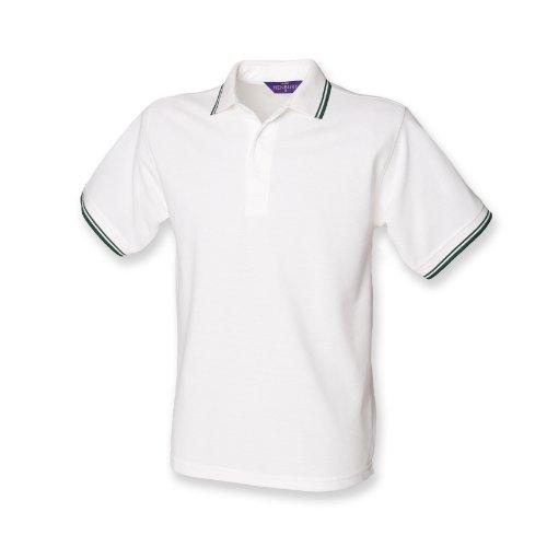 Henbury Herren Polo Shirt Tipped Weiß / Flasche Grün