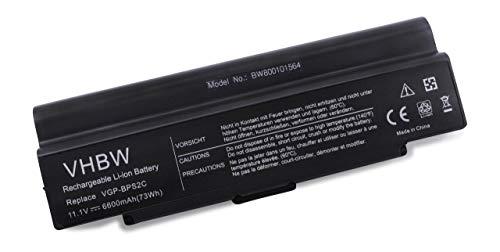 Batterie LI-ION 6600 mAh 11.1 V en noir compatible pour SONY VAIO FE Series VGN-FZ19VN FE590 etc. remplace VGP-BPS2, VGP-BPS2B, VGP-BPS2 A, VGP-BPL2 C