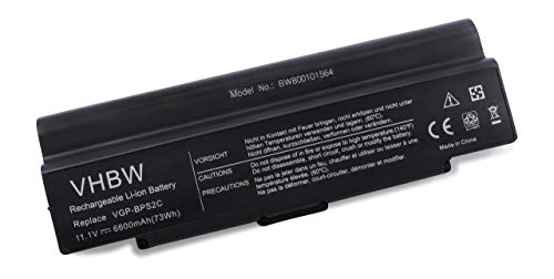 vhbw Batterie LI-ION 6600mAh 11.1V Noir Compatible pour Sony VAIO VGN-N11, VGN-N130, VGN-N150 Series remplace VGP-BPS2, VGP-BPS2B, VGP-BPS2A, VGP-BPL2C