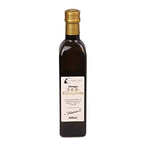 Carnivora Barf-Öl für Hunde: Omega 3 6 9 Complete Barf Öl + Vitamin E (in der Glasflasche) mit Lachsöl, Hanföl und Borretschöl (500ml Omega-3-6-9-Öl)