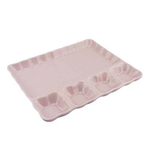 Fondueteller Welle Keramik Grillteller Dippteller Nachtisch Dipp Schale (Rosa, 6 Stück)
