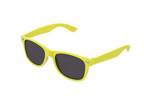 RetroUV® Klassische Brillen 80er Jahre Retro Große Horn Umrandeten Sonnenbrille Stil, Gelb Tönung, (Horn Frauen Für Umrandeten Brille)