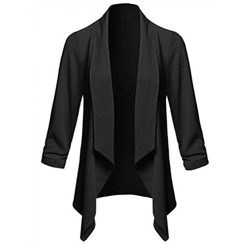 Bluelucon Damen lässig Jacke Langarm Bomberjacke Winterjacke Revers Business Mäntel Outwear Kurz Coat Herbst Frühling Strickjacken